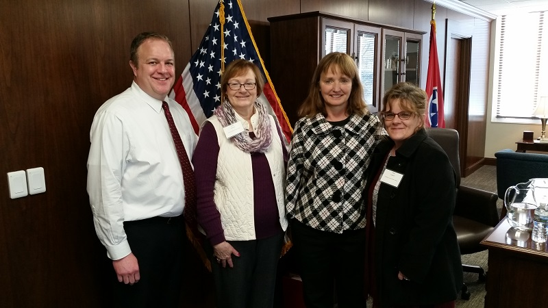 Pictured left to right - Scott Gilmer - Chief of Staff, Janet Walker - Director of South Cheatham Public Library, Beth Harwell - Speaker of the House, and May Lingner - Director of Cheatham County Public Library